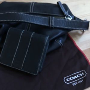 Small Black Leather Coach Purse